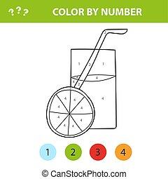colorido, educativo, juice., -, niños, libro, naranja, juego, color, números