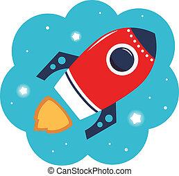 colorido, espacio, aislado, caricatura, cohete, blanco