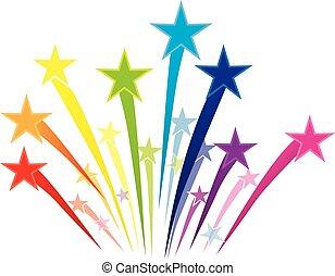 colorido, estrellas, disparando, logotipo