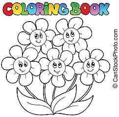 colorido, flores, cinco, libro