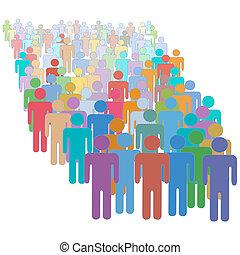 colorido, gente, multitud, juntos, muchos, diverso, grande