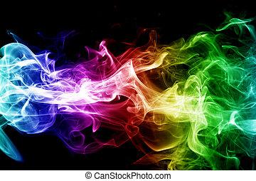 colorido, humo