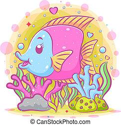 colorido, ilustración, mar, debajo, samarium