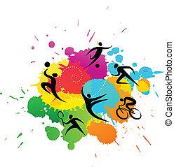 colorido, -, ilustración, vector, plano de fondo, deporte