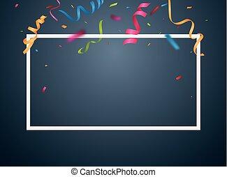 Colorido marco de fiesta y confeti en fondo blanco