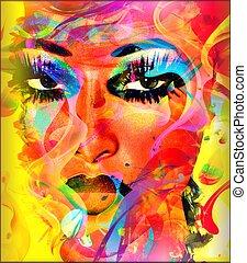 colorido, mujer, cara abstracta