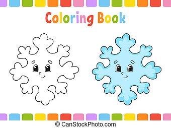 colorido, negro, caricatura, illustration., style., página, fondo., children., vector, blanco, aislado, character., silhouette., libro, lindo, kids., alegre, fantasía, contorno
