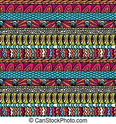 colorido, ornamento, pattern., seamless, vector, pertenencia étnica