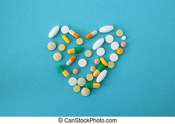 colorido, píldoras, forma, cápsulas, corazón