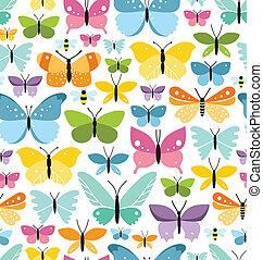 colorido, patrón, seamless, mariposas, terreno, diversión