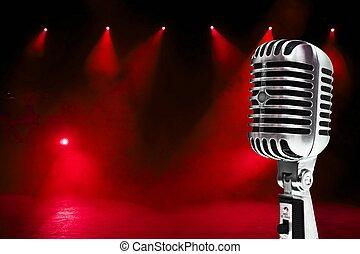 colorido, plano de fondo, micrófono
