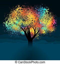 colorido, resumen, eps, space., árbol., 8, copia