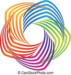 colorido, resumen, logotipo, icono, swirly