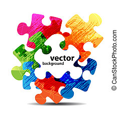 colorido, rompecabezas, forma, vector, diseño, resumen