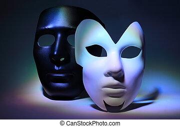 colorido, simple, máscara, destacado, máscara, negro, serio, blanco