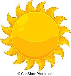 colorido, sol amarillo, icono