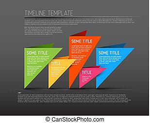 colorido, timeline, oscuridad, infographic, plantilla, informe