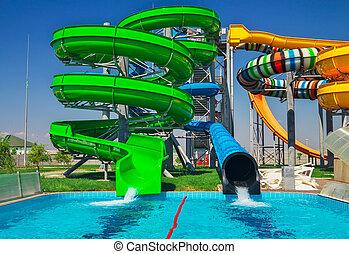 colorido, vacaciones, vacaciones, diapositiva, feliz, aquapark, everyone., piscina