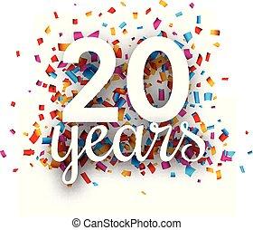 colorido, veinte, aniversario, confetti., años