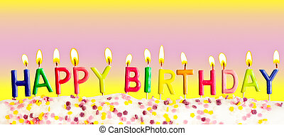 colorido, velas, lit, cumpleaños, plano de fondo, feliz