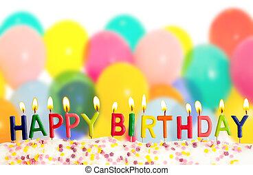 colorido, velas, lit, cumpleaños, plano de fondo, globos, feliz