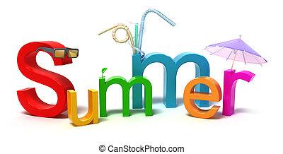 colorido, verano, palabra, cartas
