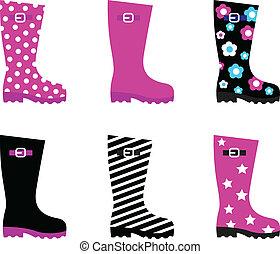 colorido, wellies, fresco, lluvia, aislado, botas, y, blanco
