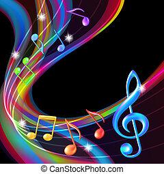 Coloridos apuntes de música.