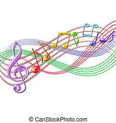 Coloridos apuntes musicales de fondo en blanco.