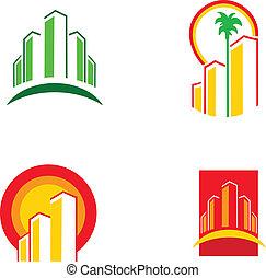 Coloridos iconos de construcción, ilustración vector 1