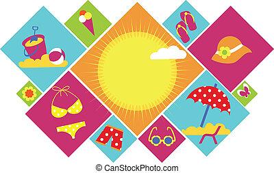 Coloridos iconos de verano