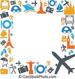 Coloridos iconos de viaje y transporte