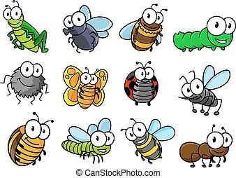 Coloridos personajes de insectos de dibujos animados
