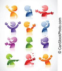 Coloridos personajes parlantes