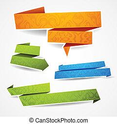 Coloridos y condecorados estandartes de papel para su texto