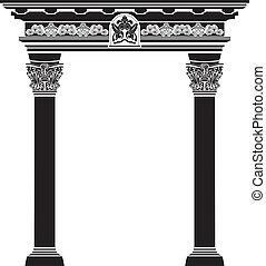 columna, filigrana, arco, clásico