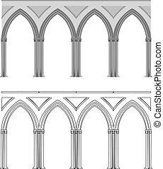 columna, gótico, arco