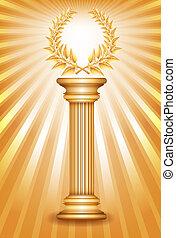 columna, guirnalda laurel, premio, oro