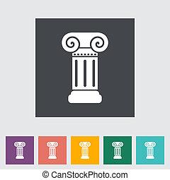 columna, plano, solo, icon.