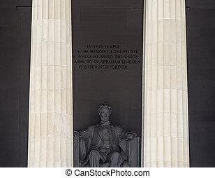 Columnas altas Abraham Lincoln estatua memorial Washington DC