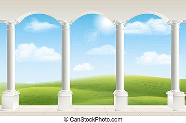 Columnas de arco prado