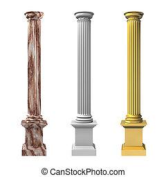 columnas, rendido, tres, ilustración, 3d
