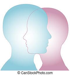 combinar, macho, perfil, hembra, caras, y, silueta