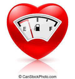 combustible, corazón, indicador