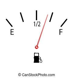 combustible, símbolo, vector, calibrador, ilustración