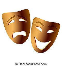 comedia, máscaras de tragedia