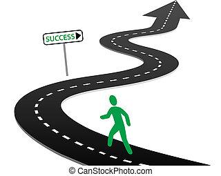 comenzar, éxito, curvas, viaje, iniciativa, carretera