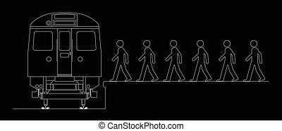 Comerciantes abordando un tren
