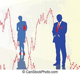Comerciantes y gráficos financieros
