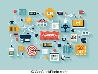 comercio, ahorros, ilustración, plano